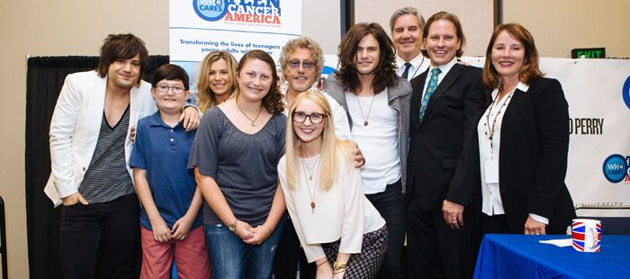 The Band Perry, Roger Daltrey, Simon Davies, Dr. Scott Borinstein, Rebecca Rothstein, and patients announcing The Band Perry as Teen Cancer Americaambassadors at Vanderbilt!
